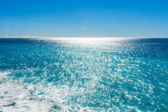 View of beautiful Mediterranean landscape, sea and sunny sky. Royalty Free Stock Photography