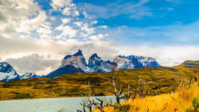 View of beautiful mountain in Torres Paine National Park stock video
