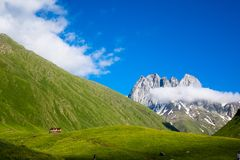 View of the beautiful mountain valley of Chauchi Stock Photo
