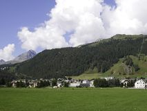 View of the beautiful mountain village of Celerina stock image