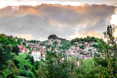 View of beautiful mountain village named Baltesiniko and located stock photography