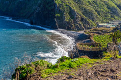 View of beautiful mountains and the ocean on the coast of the island of Madeira, Portugal Stock Images