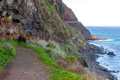 View of beautiful mountains and the ocean on the coast of the island of Madeira, Portugal Stock Image