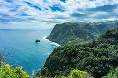 View of beautiful mountains and ocean on northern coast, Madeira, Portugal royalty free stock photo
