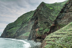 View of beautiful mountains and ocean on northern coast near Boaventura, Madeira island, Portugal Stock Image