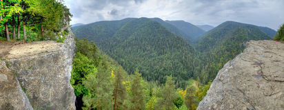View of the beautiful mountains in the panoramic scene. View from Tomasovsky Vyhlad in Slovak Paradise National Park Stock Photography