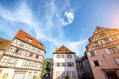 Colmar town in France. View on the beautiful old half-timbered houses during the sunny day in the famous tourist town Colmar in Alsace region, France Stock Image