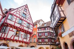 Colmar town in France. View on the beautiful old half-timbered houses during the sunny day in the famous tourist town Colmar in Alsace region, France Stock Images