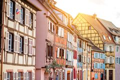 Colmar town in France. View on the beautiful old half-timbered houses during the sunny day in the famous tourist town Colmar in Alsace region, France Royalty Free Stock Image