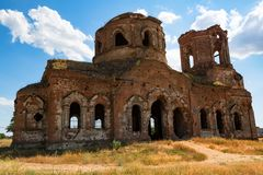 Beautiful ruined Orhtodox cathedral royalty free stock photography