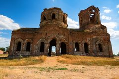 Beautiful ruined Orhtodox cathedral stock images