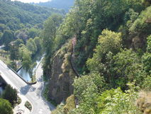 A view with a beautiful panorama in Luxembourg. A forrest trail Royalty Free Stock Image