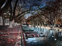 View of the Canal du Vassè near the beautiful Pont des Amours in Annecy, France stock photo
