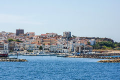 View of beautiful port in Arbatax harbor village Sardinia italy sardegna Stock Photography