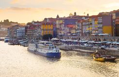 Porto quayside at sunset, Portugal Royalty Free Stock Images