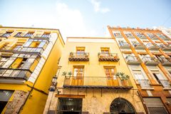 Valencia city in Spain. View on the beautiful residential building front at the old town of Valencia city in Spain Stock Images