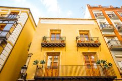 Valencia city in Spain. View on the beautiful residential building front at the old town of Valencia city in Spain Royalty Free Stock Photography