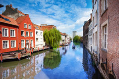 View of beautiful river in Ghent, Belgium Stock Images