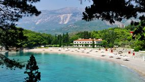 Wonderful Place to enjoy the Summer Vacation. View of the beautiful Saint Stephen`s beach in Montenegro, 4 K Video Clip stock video footage