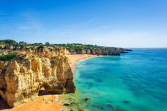 A view of beautiful sandy beach Dona Ana in Lagos Stock Photo