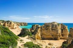 View of beautiful sandy beach Pria do Castelo, Algarve, portugal stock photography