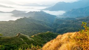 View of sea of fog from Phu Chi Dao viewpoint in Chiang Rai, Thailand. View of a beautiful sea of fog from Phu Chi Dao viewpoint in Chiang Rai, Thailand stock images