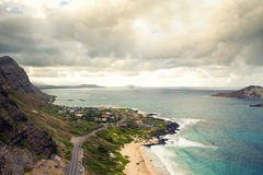 View of beautiful south shore of Oahu Royalty Free Stock Photo