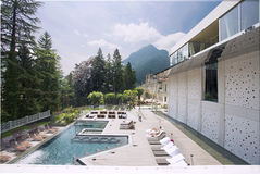 View of the beautiful spa resport in the mountains Royalty Free Stock Photography