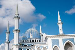 View of a beautiful Sultan Ahmad Shah public mosque with blue dome. Located in KuantanPahang,Malaysia royalty free stock photography