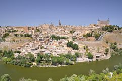 View on beautiful sunny Toledo city in Spain Stock Photography