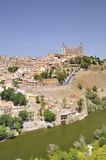 View on beautiful sunny Toledo city in Spain Stock Images