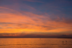 View of beautiful sunset above the Adriatic sea Stock Photos