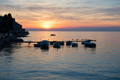 View of beautiful sunset above the sea Stock Photos