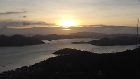 View on beautiful sunset on a tropical island in the sea. By Coron in Philippines, Busuanga stock footage