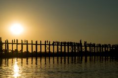 U bein Bridge, Amarapura, Myanmar royalty free stock image
