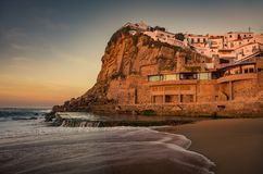 Azenhas do Mar. View of beautiful town of Azenhas do Mar in Portugal at sunset light stock photography