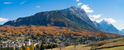 The view of the beautiful town of Cortina d`Ampezzo, the Dolomit Stock Image