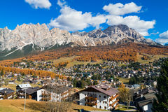 The view of the beautiful town of Cortina d`Ampezzo, the Dolomit Royalty Free Stock Image