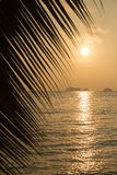 View of a beautiful tropical sunset over the sea Stock Photos