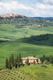 View of the beautiful Tuscan countryside. Overlooking the town Pienza Stock Images