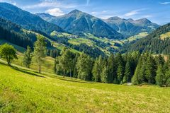 View of beautiful valley d`Ultimo Ultental in South Tyrol, Trentino Alto Adige, Italy. View of beautiful valley d`Ultimo Ultental in South Tyrol, Trentino Alto stock photo