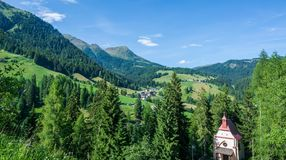 View of beautiful valley d`Ultimo Ultental in South Tyrol, Trentino Alto Adige, Italy. View of beautiful valley d`Ultimo Ultental in South Tyrol, Trentino Alto stock photography