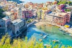 View on beautiful Vernazza town from above. Vernazza is one of the most popular old village in Cinque Terre, Italy royalty free stock image