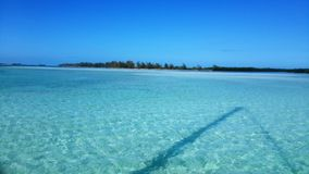View of the beautiful with white sanded beach in Cuba from a boat. Royalty Free Stock Photography
