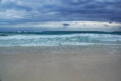 View of the beautiful with white sanded beach in Cuba. Stock Image