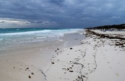 View of the beautiful with white sanded beach in Cuba. Royalty Free Stock Photo