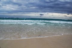 View of the beautiful with white sanded beach in Cuba. Stock Photo