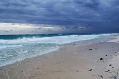 View of the beautiful with white sanded beach in Cuba. Royalty Free Stock Image