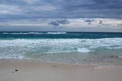 View of a beautiful white sanded beach in Cuba. Stock Photos