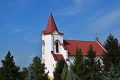 View of the beautiful white-washed Roman Catholic Church stock photo